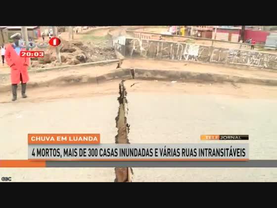 Chuva em Luanda provoca desabamento da ponte que liga o baiiro Popular ao Golfe